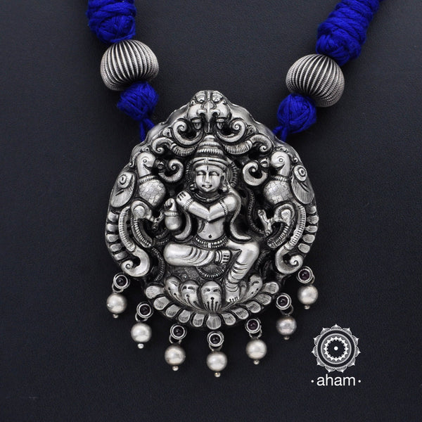 Krishna Silver Pendant with cotton adjustable thread Intricate Nakshi/ Naksahi work 3 d Idols inspired from South Indian temple work.  created using Repoussé and chasing technique