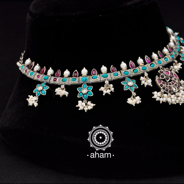 92.5 Sterling Silver Short neckpiece Turquoise Kemp and Pearl Neckpiece