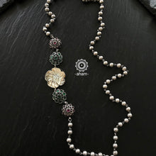 92.5 Sterling Silver Ball Chain Neckpiece with Flower Motif and semi precious stone setting.
