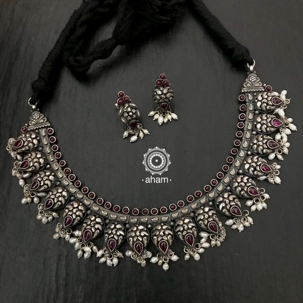 Gorgeous Handcrafted 92.5 Sterling Silver Neckpiece with matching earrings.