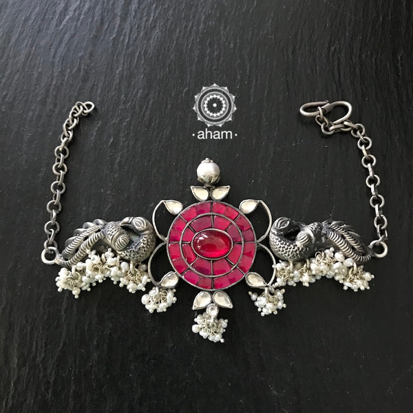 Beautiful Sterling silver handcrafted Choker with Peacock Motif and kundan work center