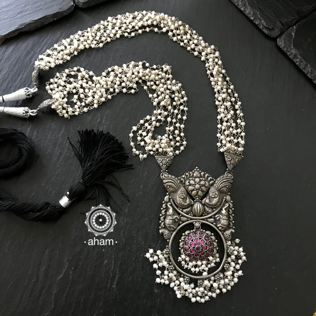 Beautiful Handcrafted Neckpiece in 92.5 silver with intricate handwork and string of fresh water pearls