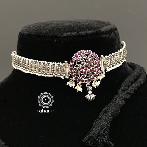 92.5 Sterling Silver peacock choker laced with pearls.  beautiful dainty handcrafted choker to complete your festive look