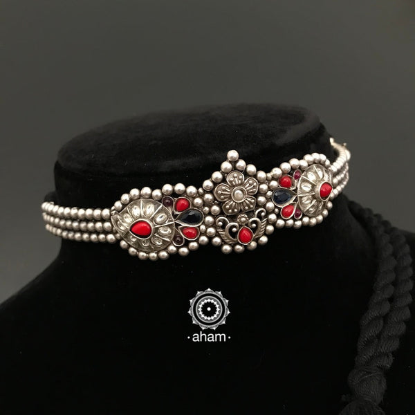 92.5 Sterling Silver flower choker.  beautiful dainty handcrafted choker to complete your festive look.  these are stiff choker, with adjustable back thread.