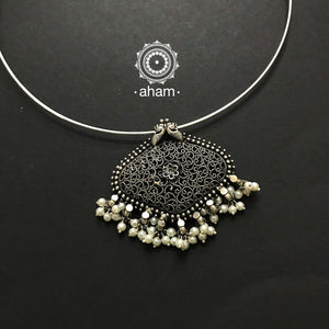 Silver Tar Work Pendant with Wire Hasli