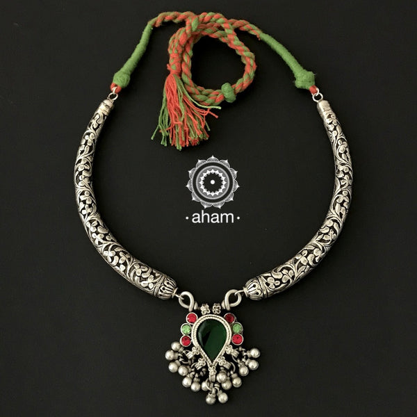 Mewad Silver Chitai Neckpiece with Tribal Glass Pendant.  Make a statement this festive season
