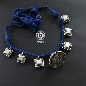 Tribal Borla Choker with adjustable thread.  the Rajasthani Borla - Mangtika has been given a new twist by threading them into a beautiful unique Choker. Can be worn as a short neckpiece as well