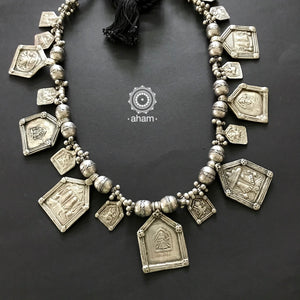 Tribal Silver Amulet Neckpiece with Silver Beads