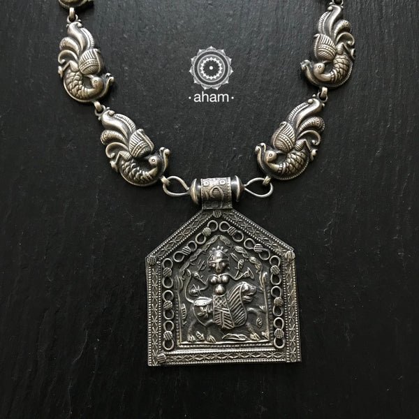 Beautiful 92.5 Silver Durga Pendant with Peacock Chain