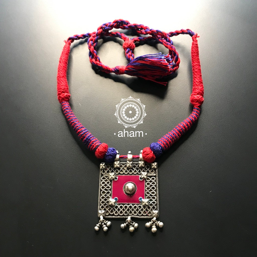 Light Weight thread Neckpiece with meena work on the pendant  Adjustable Thread