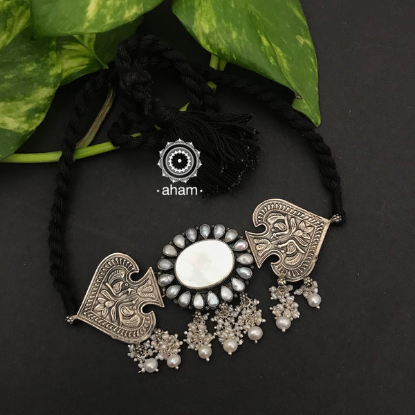 92.5 Sterling Silver Choker with Peacock motif and Pearl Center.