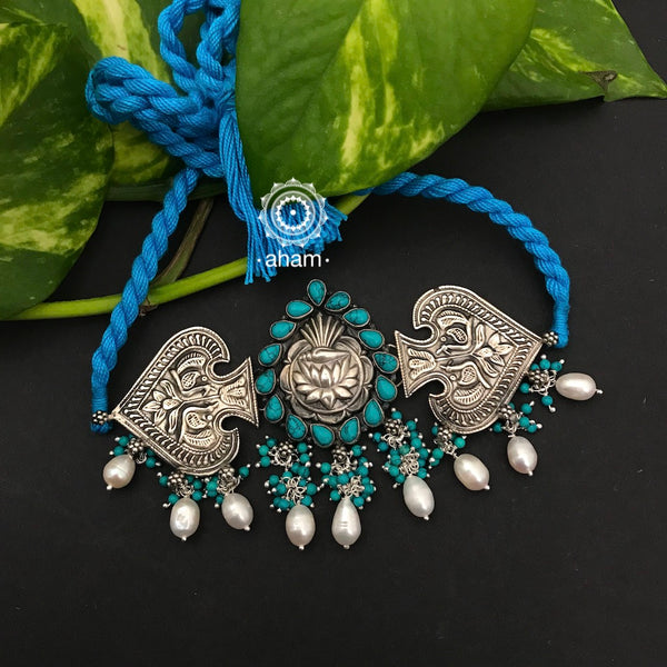 92.5 Sterling Silver Choker with Peacock motif, Turquoise and Lotus Center.