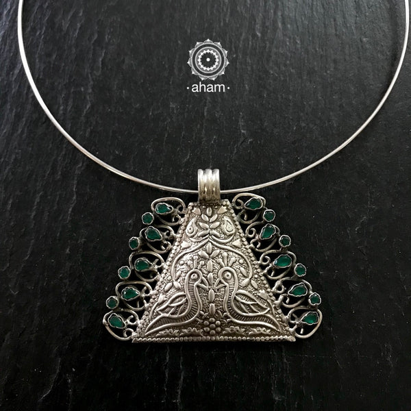 Silver Wire Work Pendant with Green Stone Peacock Pendant