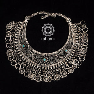 Vintage Tribal Silver Hasli.  with beautiful tar, wor