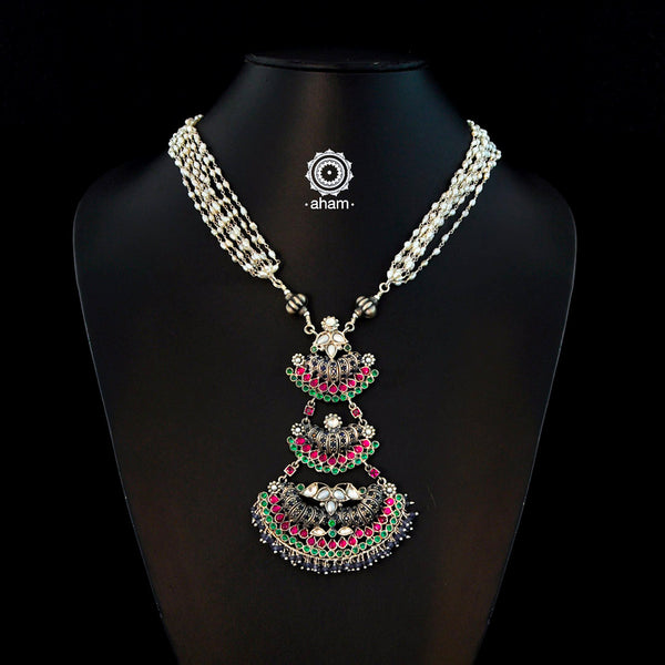 Festive Silver Kundan Neckpiece with Rice Pearls