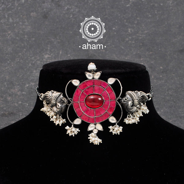 Beautiful handcrafted Choker with Peacock Motif and kundan work center