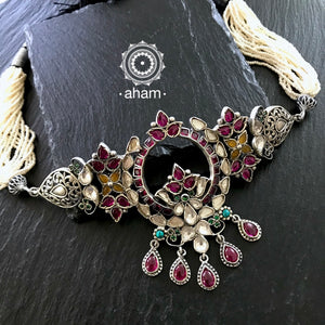 Beautiful handcrafted Sterling Silver Choker with Semi precious gem setting and Kundan work