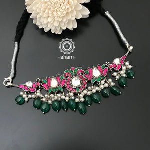 Beautiful handcrafted Kundan Choker with Lotus and Peacock Motif, Green drops and Pearls