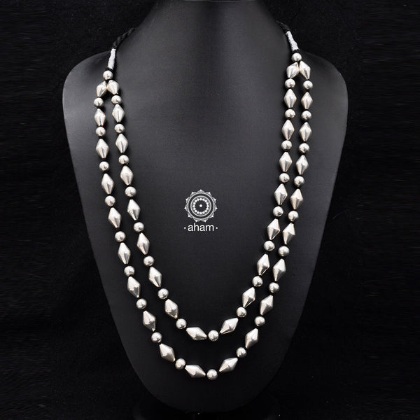 Wax Beads coated with silver foil. versatile neckpieces that go well with almost all kinds of clothes.