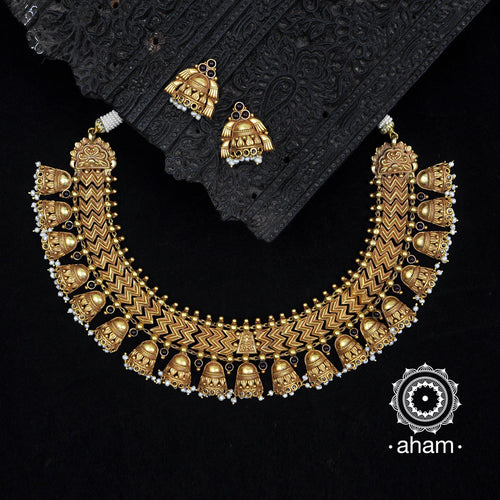 Gold Polish Bell Neckpiece with earrings