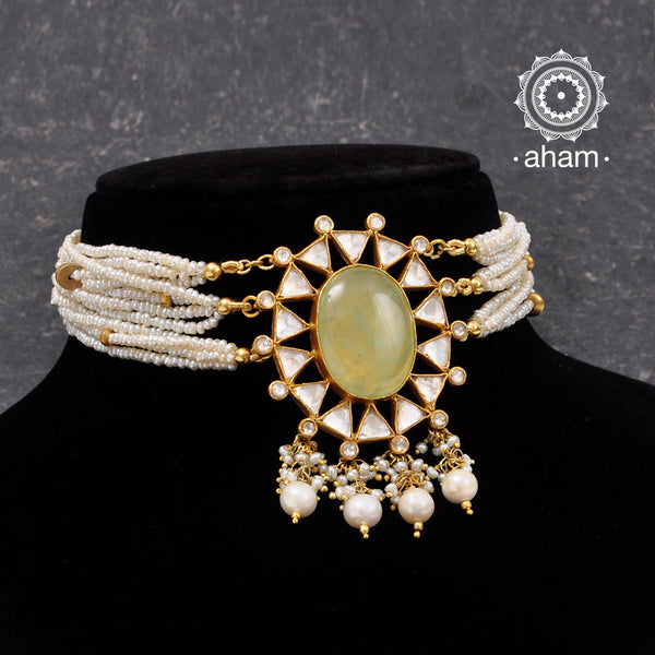 Beautiful handcrafted 92.5 sterling silver dipped in gold polish Choker with Kundan work and light green semi precious stone setting in the center