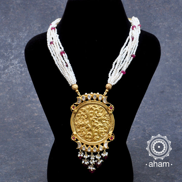 Gold Polish Silver Kundan Neckpiece with pearsl