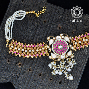 Beautiful handcrafted Sterling Silver Choker with Kundan work and pearls