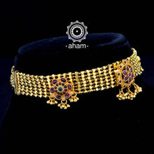 Beautiful handcrafted Sterling Silver Choker with Semi precious gem setting and dipped in gold.