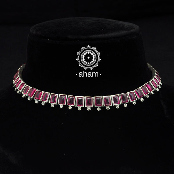 92.5 Sterling Silver Short neckpiece with Kemp Spinel Stone setting