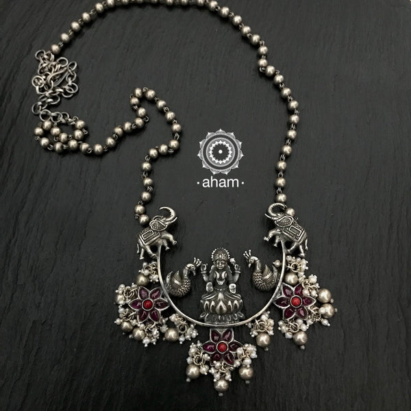 Beautiful One of a Kind Silver Laskshmi Half Moon Neckpieces with Kemp flower and pearl highlights.