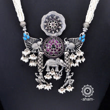 One of a Kind 92.5 Sterling Silver Neckpiece with pearls.  Made by fusing together distinct pieces, to create something which is truly unique and one of a kind, specially for you.