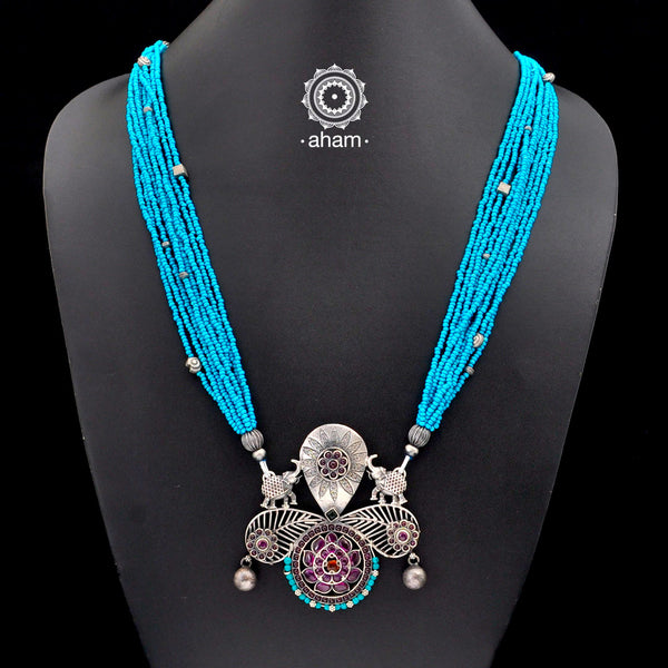 One of a Kind 92.5 Sterling Silver Neckpiece with faux turquoise beads Made by fusing together distinct pieces, to create something which is truly unique and one of a kind, specially for you