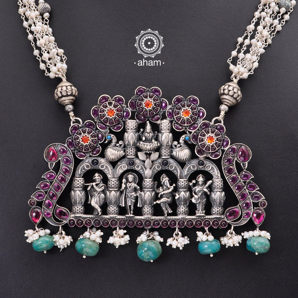 One of a Kind 92.5 Sterling Silver Neckpiece with pearls.  Made by fusing together distinct pieces, to create something which is truly unique and one of a kind, specially for you.  Lakshmi, Ganesha, Kartikeya, Krishna and Saraswati all in one single neckpiece