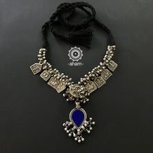 Tribal Silver Amulet Neckpiece with Blue Glass Pendant