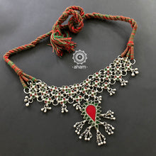 Tribal Silver Glass Choker