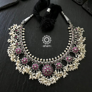 Handcrafted 92.5 Silver Neckpiece with pearls.