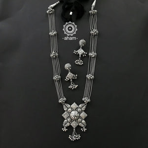 Shivneri Silver Neckpiece and Earrings Set