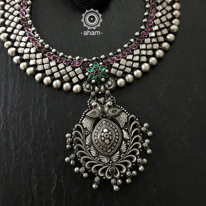 Beautiful Silver handwork neckpiece with Kemp stone highlights.