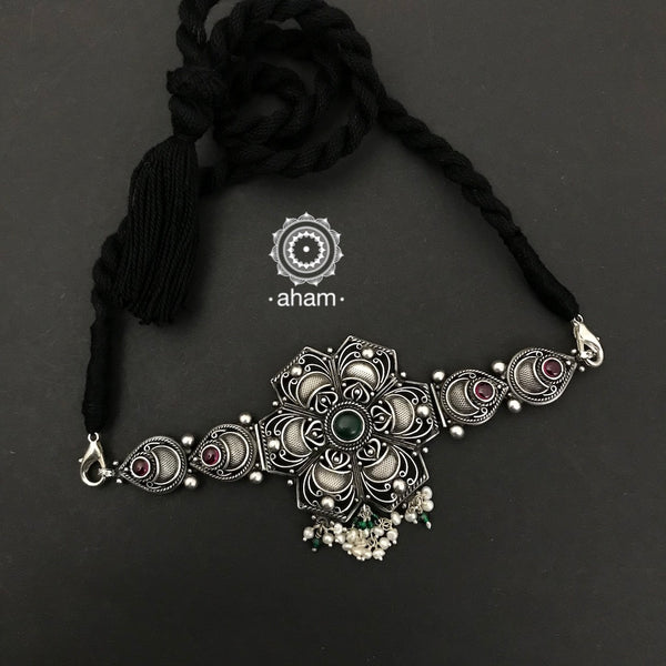 Delicate and light weight Silver Flower Choker with Pearl Hanging.