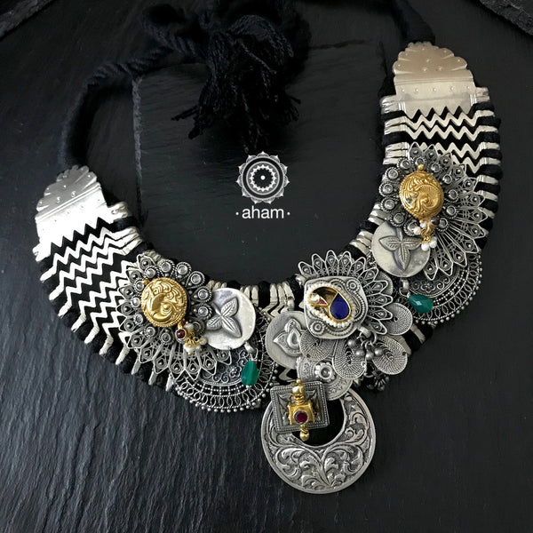 One of a kind Statement silver Neckpiece.  Made by fusing together different pieces.