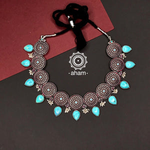 Silver Ira Neckpiece with Kemp and Turquoise Stone