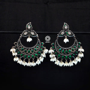 Festive Green Stone Silver Chandbali Earrings