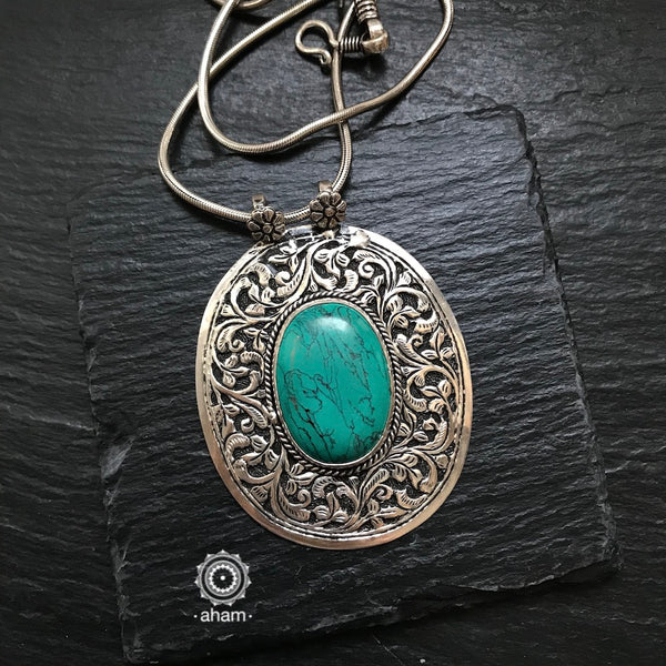 Silver Pendant in 92.5 sterling silver with Chitai work and semi precious stone