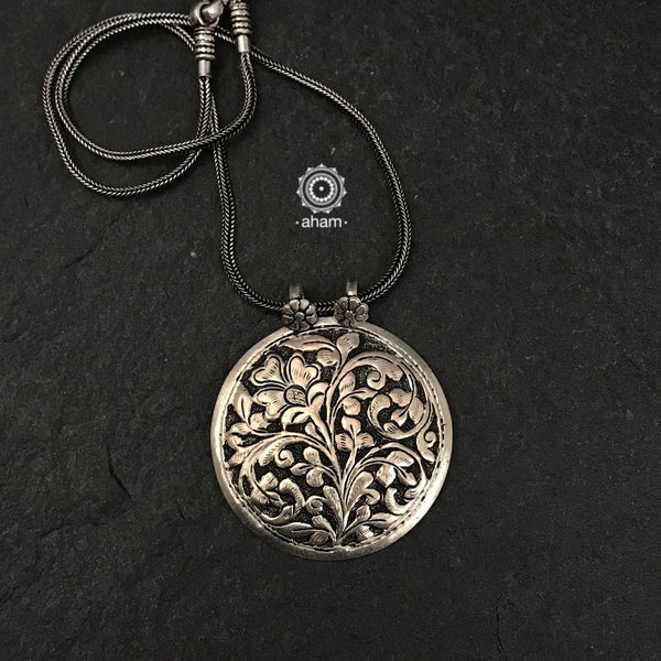 Silver Pendant in 92.5 sterling silver with Chitai work from Rajasthan
