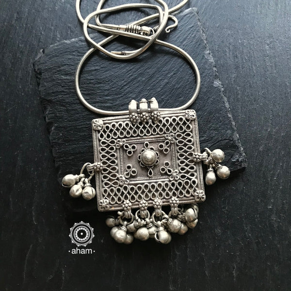 Vintage Silver Pendant.  Beautiful handcrafted pendant from a bygone area, that bring back memories and stories of that time.    Wear it with a long chain or with a black thread, or layer them with to create a distinct look.