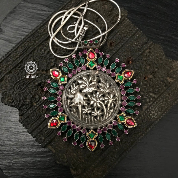 Two Tone Kundan and Stone Work Statement Silver Pendant