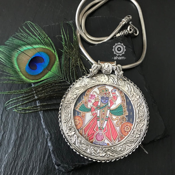 Hand Painted Silver Shrinathji Pendant