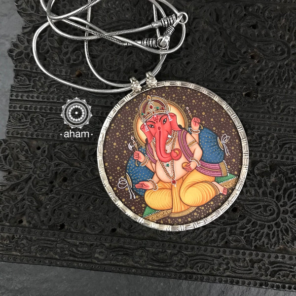 Lord Ganesha Hand Painted Silver Pendant