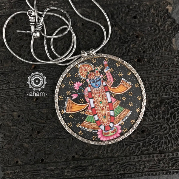 Lord Shrinathji Hand Painted Silver Pendant