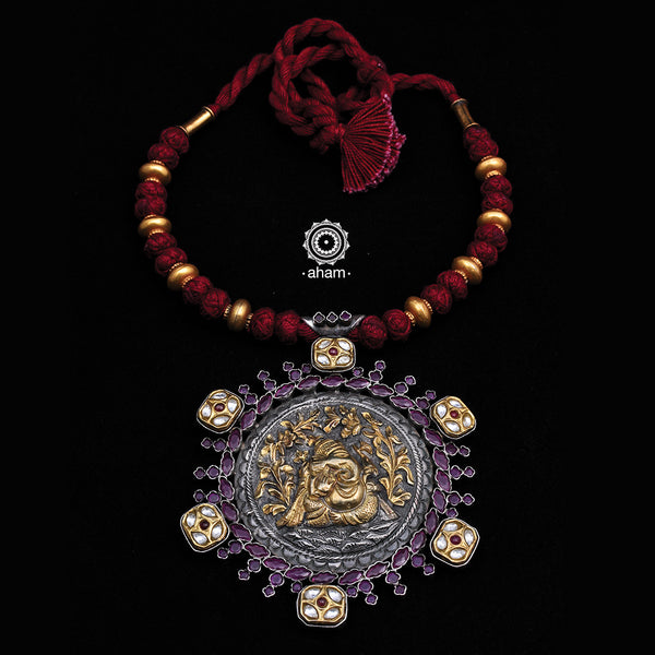 Two Tone Ganesha Neckpiece with Kundan work